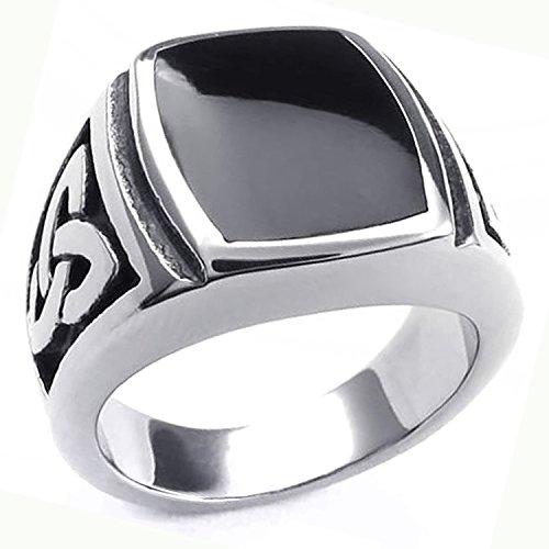 MENDINO Men's #9 Jewelry - 316L Stainless Steel Enamel Ring Celtic Knot Signet Silver Black with a Velvet Bag