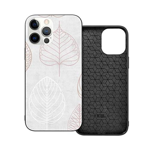 Funda protectora compatible con iPhone 12 / iPhone 12 Pro Nordic Leaf Oro rosa y Blush Pink Phone Case Cover Cover Soft Silicone TPU