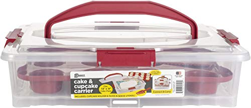 Buddeez 19202R-ONL 19202R Cake and Cupcake Carrier, large, Red