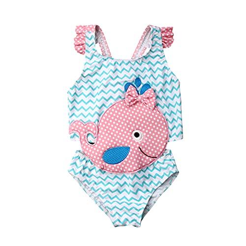 Carolilly Costume da Bagno Intero Bambina Ragazza Estivo Stampa Animali Pois Puntini Fiocco Senza Maniche Monopezzo Mare Piscina Spiaggia Costume da Bagno Neonata (1-6anni)