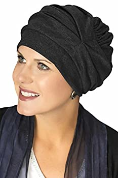 Headcovers Unlimited Trinity Turban-Caps for Women with Chemo Cancer Hair Loss Black