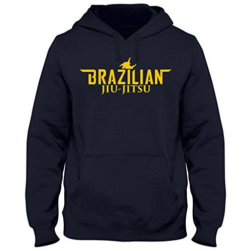 Shirtastic Hoody Hoodie Brazilian Jiu Jitsu Brasil Mixed Kampfsport Martial Arts, Größe:S, Farbe:dunkelblau/gelb