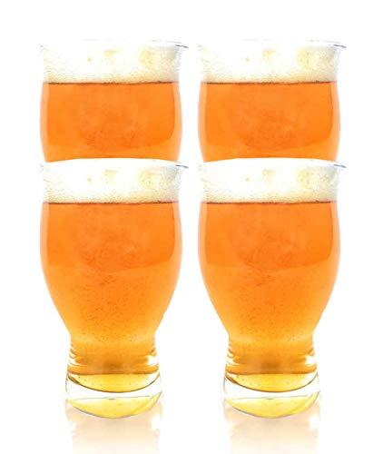 USA Made Nucleation Etched Bottom Glass - 4 Pack Ultimate Beer Glasses - 16oz -