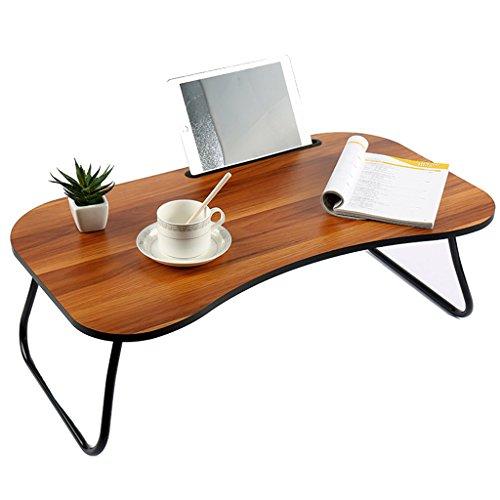 Ordinateur bureau lit bureau pliage dortoir maison multi-fonction ventilateurs paresseux petite table (Color : Dark wood color)