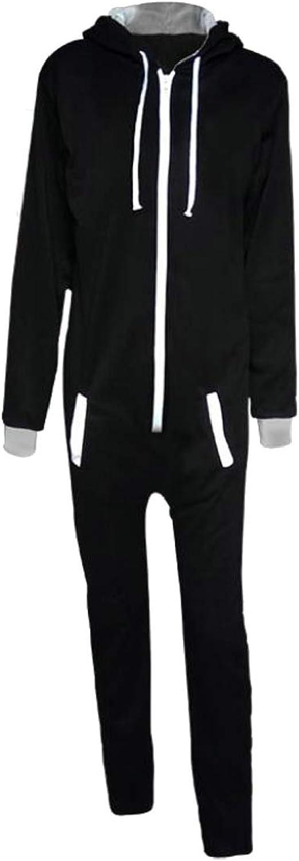 QD-CACA Men Fashion Zipper Contrast color One Piece Drawstring Sweatsuit Set