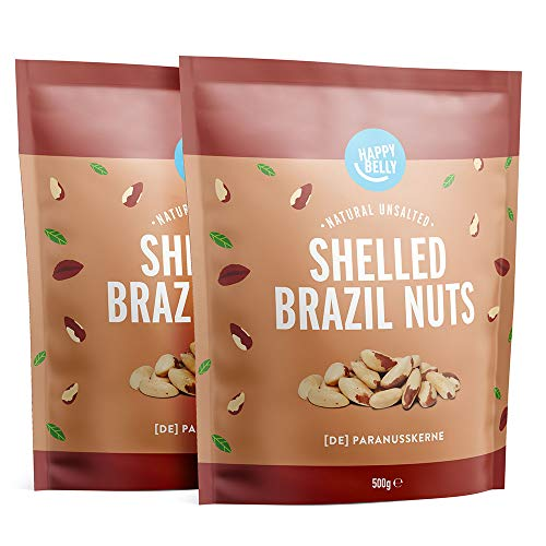 Marca Amazon - Happy Belly Nueces de Brasil sin cáscara, 2 x 500g