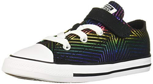 Converse Girls' Chuck Taylor 1V All of The Stars Sneaker, Black/Black/White, 5 M US Toddler