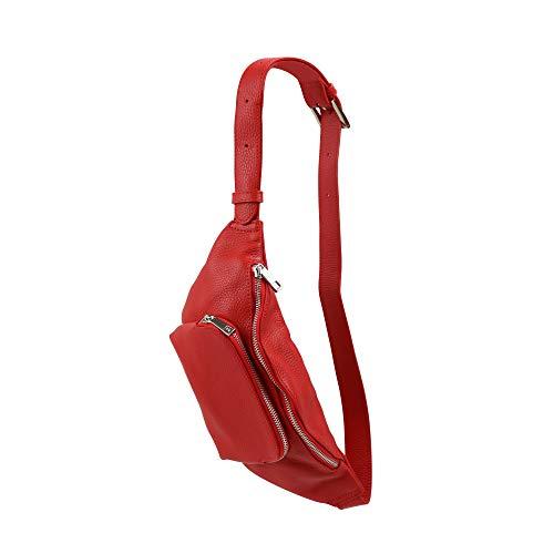 SH Leder echt Leder Bauchtasche Damen Herren unisex Gürteltasche für Festival Reise kleine Hüfttasche Crossbody Bag Frauen Ledertasche 29x9cm Emilia G429 (Rot)
