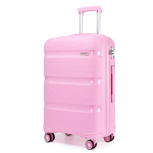 Kono Large Suitcase Hard Shell Travel Trolley 4 Spinner Wheels Lightweight Polypropylene Check in Luggage with TSA Lock (Pink,76cm/100L)