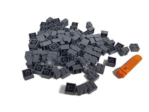 LEGO Classic 100 Stück 2x2 Steine (3003) mit Steinetrenner (dunkelgrau)