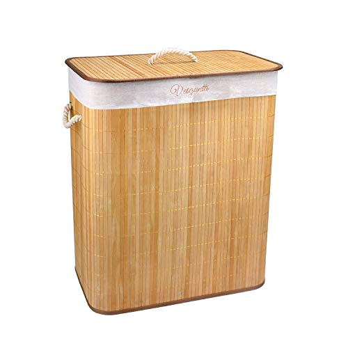 Vesgantti - Cesto para la ropa sucia (72 L, 100 L, bambú, plegable, con tapa y forro lavable extraíble), caqui, (100 L) EU