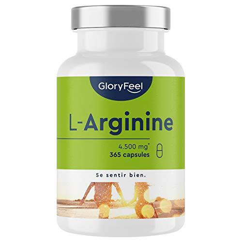 L-Arginine Végétalien à Haute Dosage, 365 Capsules, 4.500 mg d'Arginine HCL dont 3.750 mg de L-Arginine Pure par Portion Journaliére, Aide à Améliorer le Flux Sanguin, Testé Cliniquement
