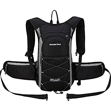Mubasel Gear Insulated Hydration Backpack with 2L BPA FREE Bladder - Keeps Liquid Cool up to 5 Hours – Waterproof pack for Running, Hiking, Cycling, Camping (Black/grey - With Waist Pack)