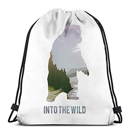Generic Drawstring Backpack Kids Adults Bag for Gym Traveling,Cabin,Wild Animals of Canada Survival in The Wild Theme Hunting Camping Trip Hobby Outdoors,Multicolor