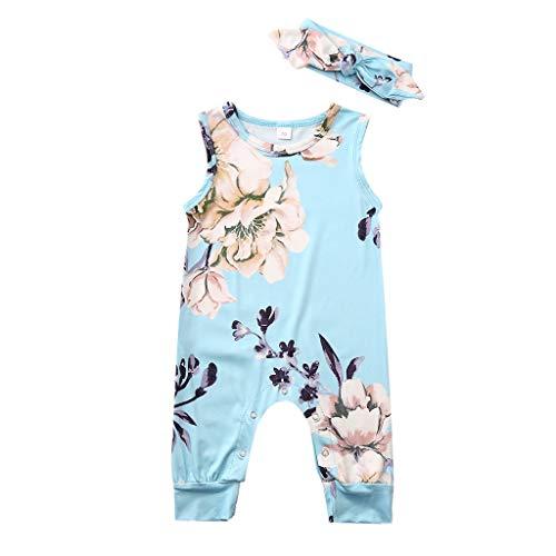 Zegeey Baby MäDchen Bekleidungssets ÄRmellos Drucken Jumpsuit Strampler Mit Stirnband Geburtstag Geschenk 2-Teiliges AnzüGe(Blau,60-70cm)