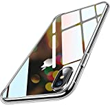 Humixx iPhone XS Hülle, iPhone X Hülle, Transparent & Anti-Gelb Upgraded 9H Glas Rückseite mit...