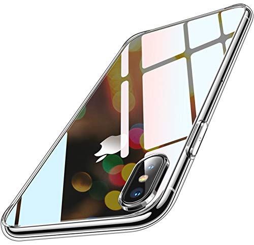 Humixx iPhone XS Hülle, iPhone X Hülle, Transparent und Anti-Gelb Upgraded 9H Glas Rückseite mit TPU Rahmen Hülle iPhone X/XS Handyhülle Stoßfest Anti-Kratzer Schutzhülle für iPhone X/XS (5.8 inch)