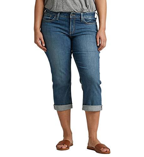 Silver Jeans Co. Women's Plus Size Suki Curvy Fit Rise Capri Jeans, mid Stretch Medium, 22W