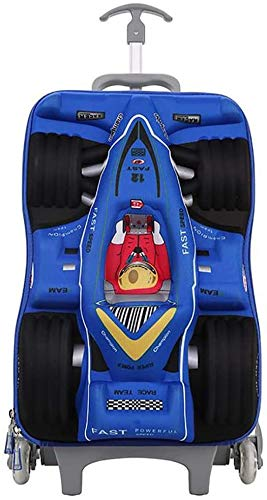 ZHLFDC Child Racing Car Rolling Backpack, 18 Inch Waterproof Spine Protection Travel Wheeled Laptop Backpack for Teen/Male/Student, Carry On Trolley Luggage Suitcase (Color : Blue)