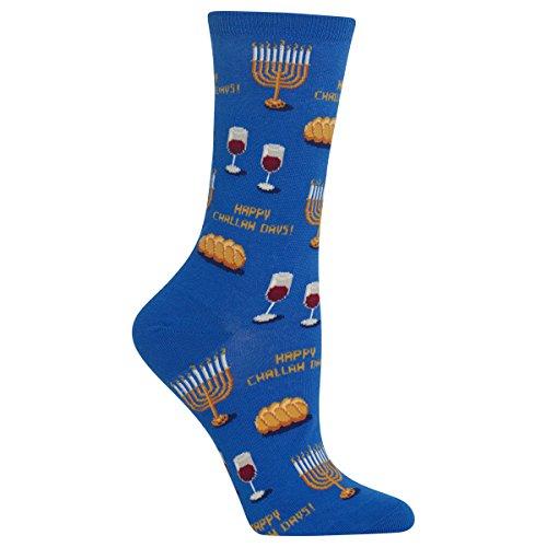 Hot Sox Women's Holiday Fun Novelty Crew Socks, Happy Challah Days (Blue), Shoe Size: 4-10 (HO002528 090110 Blue)