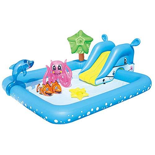 YANGHAO-Bañera grande- Piscina para niños adultos, piscinas para niños con fuente de diapositivas, por encima del suelo Partido de agua de verano, Piscina al aire libre Pool Pools Blue / CQYYLH-45 /KZ