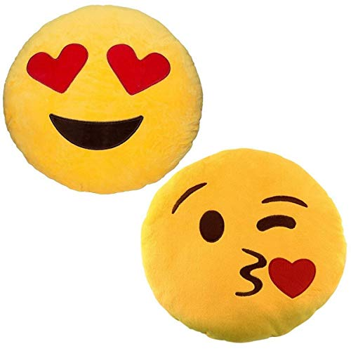 JZK 2 x Stuffed Plush Emoji Cushion Blow kiss + Emoji Cushion Love Heart Eyes, 32cm 12' Emoji Pillow Emoticon Cushion Pillow Emoji Gift Toy Accessory