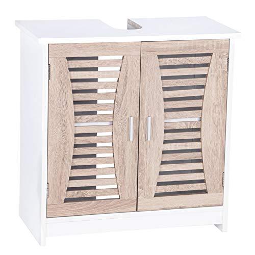 WOLTU Mueble para Debajo del Lavabo Madera, 2 Puertas para Cuarto de Baño 60x30x60,5 cm, Blanco+ Roble BZS08