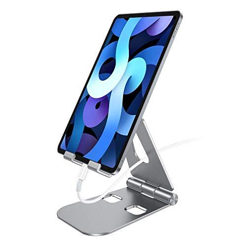 SmartDevil Supporto Tablet, Alluminio Porta Tablet Telefono Tavolo Regolabile Stand Dock per Dispositivo da 4 a 12   per Pad PRO Pad Air Pad Mini Samsung S10 S9 Tab Nintendo Switch iPhone ECC-Grigio