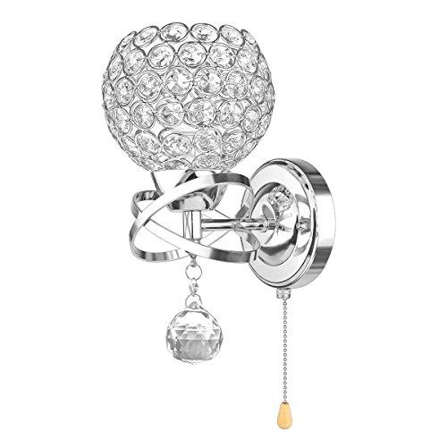 OurLeeme Wandlampe Modern Style Kristall Wandleuchte mit Schnurschalter E14 Sockel (Leuchte nicht enthalten) Silver (1 Pack)