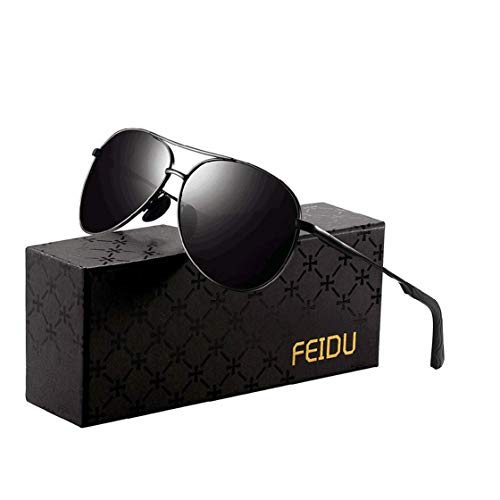 Polarized Sunglasses Aviator Sunglasses for Men  FEIDU Polarized Aviator Sunglasses for Men Sunglasses Man FD9002 Ablackblack
