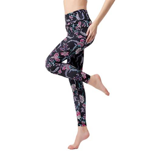 QTJY Nalgas de Cintura Alta Pantalones de Yoga Sexy Leggings de Ejercicio de Culturismo Femenino Moda Floral Pantalones de Fitness al Aire Libre V XL