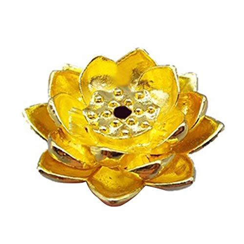 DXJFT Incienso de forma de loto con incenso, quemadores, placa de madera de sándalo, decoración del hogar, decoración de aromaterapia (color: oro)