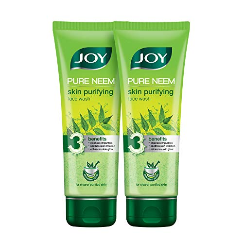 Joy Skin Purifying Neem Face Wash for Acne & Pimples   With Pure Neem Extract   Oil Control   Cleanses and Soothes skin   For All Skin Types   Pack of 2 X 100 ml