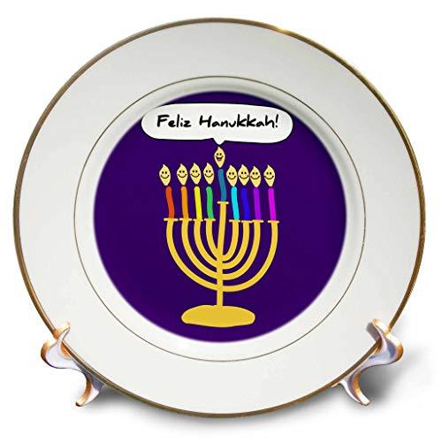 3dRose InspirationzStore - Judaica - Feliz Hanukkah - Happy Hanukkah in Spanish Cute Smiling Jewish Menorah - 8 inch Porcelain Plate (cp_321385_1)