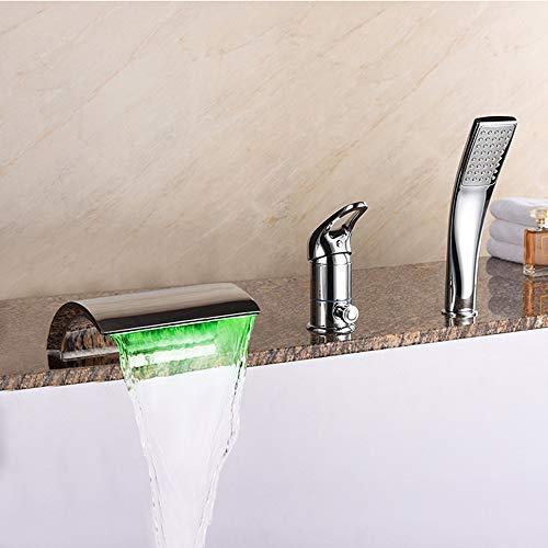 BFDMY Wasserhahn Wannenarmatur mit LED Licht DREI-Loch Wasserfall Wannenrandarmatur Badewannenarmatur mit Handbrause Messing Verchromt Duschsystem,Chrome