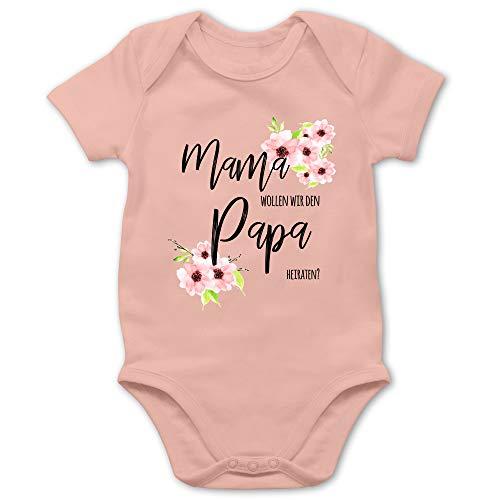 Shirtracer Anlässe Baby - Mama wollen wir den Papa heiraten Blumen - 3/6 Monate - Babyrosa - Body willst du Meine Mama heiraten - BZ10 - Baby Body Kurzarm für Jungen und Mädchen