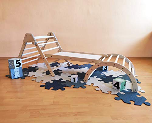 """N/A"" Set of Montessori Foldable Pikler Triangle, Sliding Board and Pikler Arch – Wood Climbing Structure for Kids"
