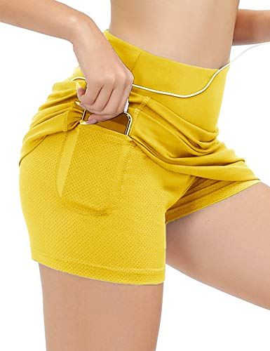 JACK SMITH Women's Active Athletic Skorts Exercise Skirt with Pocket for Tennis Golf Sport Workout(L,Yellow)