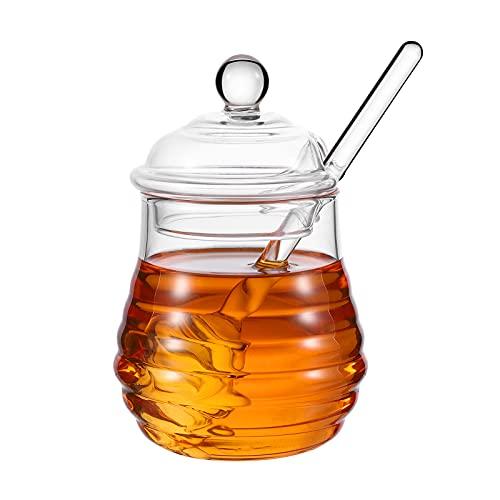 BestonZon 250 ml servieren Sie den Honigtopf klar mit dem Taucher, Glas