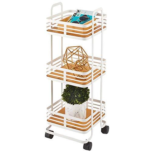 mDesign Carrito auxiliar de metal y portátil – Carro de cocina móvil con 3 cestas para almacenaje adicional – Carro verdulero, también práctico en la habitación infantil o el baño – blanco mate