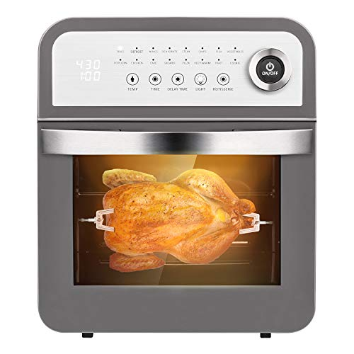 Schloß GAF12 Air Fryer Combo 12Qt Multiuse Rottiserrie Large Toast Oven With 8 Cooking Accessories and Recipe 16 Preset Modes of Fry Rotisserie Dehydrate Gray