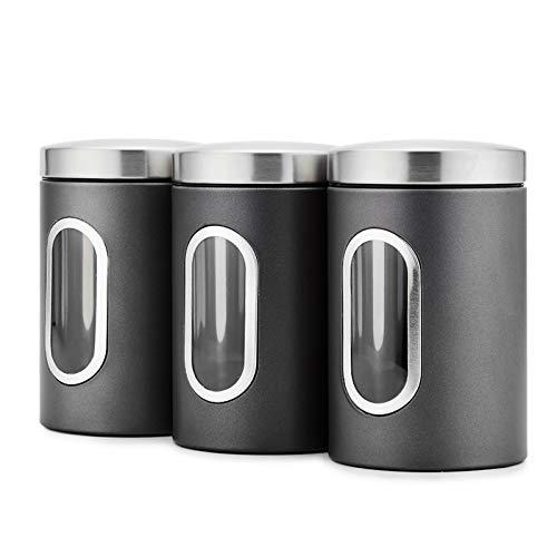 Blusea Set da 3 Barattoli Rotondi in Acciaio con Finestra Frontale, 3pcs / Set Contenitore per Alimenti con Finestra Trasparente (Nero)