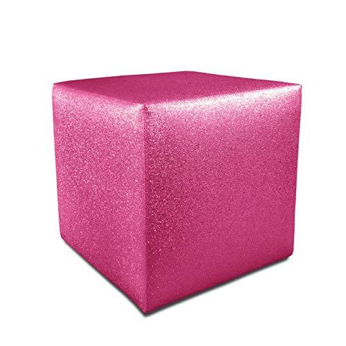 Pouf, POUFF, Puff, PUF, Effetto Glitterato, Glitter, CUBO, Ecopelle, Similpelle, Eco Pelle, POGGIAPIEDI, Seduta, Design, Prodotto Artigianale Made in Italy (Fucsia)