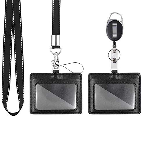 Mczxon Black Badge Holder, 2 Pack Horizontal PU Leather ID Badge Card Holder with Detachable Neck Lanyard Strap and Retractable Badge Reel Clip Keychain, Lanyard for ID Card Name Tag Holders Keys Set