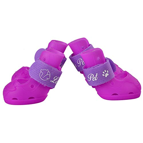 YABAISHI Pet Supplies Silikon-Schuhe Kleine Hunde Pet Sandalen Rutschfeste Schuhe (Color : Purple, Size : XL)