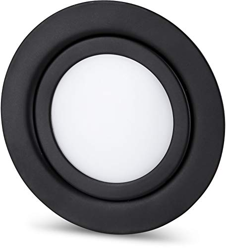 Spot LED fin encastrable pour meuble - Entièrement en métal - IP44 - 12 V - Mini AMP - Compatible avec boîtier encastré de 60 mm de diamètre - Noir mat (blanc du jour (4000 K)