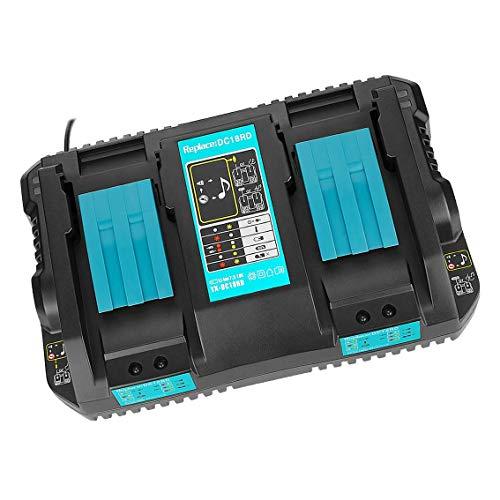 Reemplazo Makita 2-en-1 DC18RD 14.4-18V 4.0A Litio-Ion de doble puerto Herramientas eléctricas Cargador de batería rápido para Makita Compatible con BL1830 BL1840 BL1850 BL1860 con puerto USB