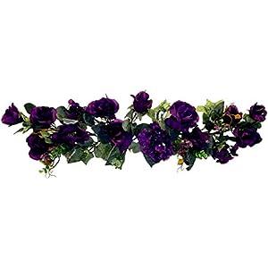 "Silk Flower Arrangements Purple 30"" Swag Artificial Rose Hydrangea Silk Flowers Wedding Arch Table Runner Fake, for Wedding Supplies"