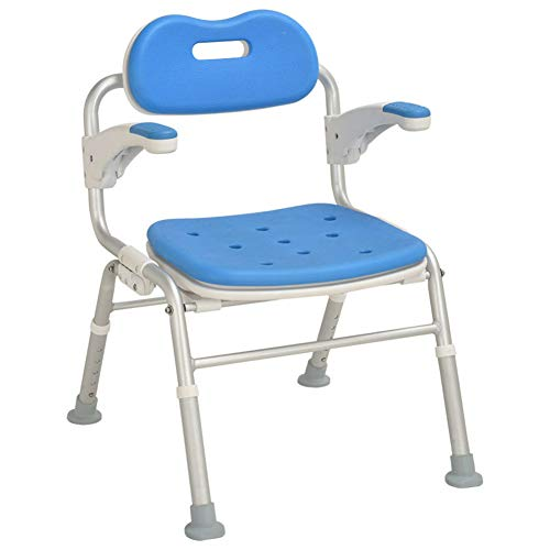 Shower Chair with Back - Padded Shower Seat for Seniors Disabled, Pregnant Women, Shower Bench Bath Chair Foldable Mobile for Handicap Tub Shower Seats for Adults