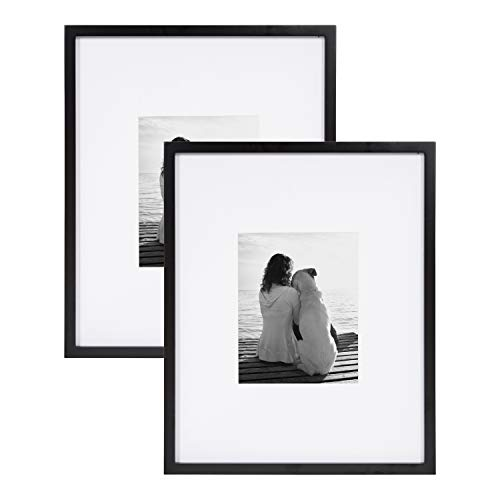 DesignOvation Gallery 16x20 matted to 8x10 Wood Picture Frame, Set of 2, Black, 2 Count